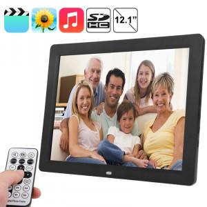 Écran LCD TFT de 12,1 pouces Cadre photo numérique multimédia avec lecteur de musique et de film / Fonction de télécommande, prise en charge de l'entrée USB / carte SD, haut-parleur stéréo intégré (noir) SPF0001-20