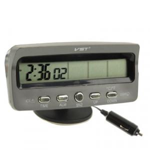 Thermomètre numérique à cristaux liquides LCD de 3,6 pouces avec temps / Date / Semaine / Alarme / Stockage de voiture Affichage de la tension de la batterie (Noir) ST9106-20