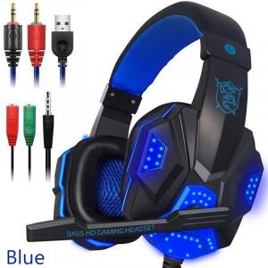 Casque avec micro et lumière LED pour téléphone portable PS4, bleu C75361404-20