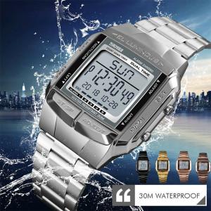 Montre de sport pour hommes Montres de luxe Imperméables Militaires LED Numérique Montre-bracelet Argent C2522301-20