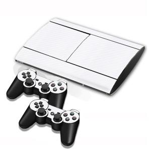 Autocollants en autocollant en fibre de carbone pour console de jeux PS3 (blanc) SA005W-20