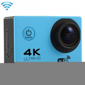 F60 2.0 pouces Écran 4K 170 degrés Grand Angle WiFi Appareil photo avec caméra vidéo avec boîtier étanche, carte mémoire 64Go Micro SD (bleu) SF087L0-20