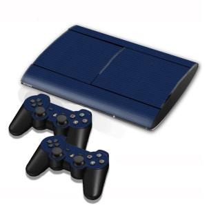Autocollants en autocollant en fibre de carbone pour console de jeux PS3 (Bleu foncé) SA005D-20