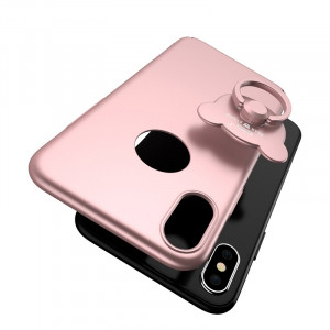 AIQAA pour iPhone X Solid Color Metal Paint Plastic PC Dropproof Housse de protection avec porte-anneau Bear (Rose Gold) SA54RG5-20