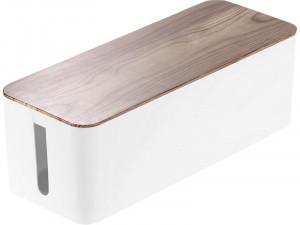 Boîte de rangement pour câbles 39 cm Blanc / Noyer AMPGEN0041-20