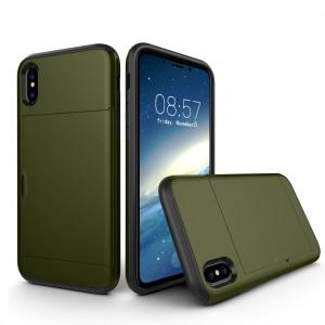 Pour iPhone X TPU + PC Dropproof Housse de protection arrière avec slot pour carte (Army Green) SP14AG5-20