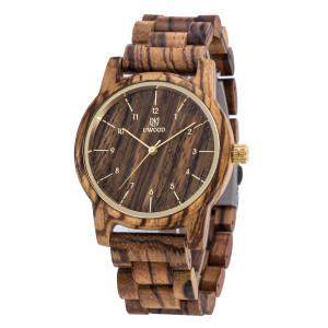 Mens classique occasionnel montre en bois naturel quartz bande en bois cadeau donnant montre-bracelet zebrawood CM25561416-20