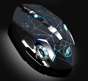 Warwolf Q8 Souris Optique Souris Gaming Silencieuse USB Rechargeable 1600dpi pour PC Ordinateur Portable Noir C24921221-20