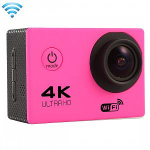 F60 2.0 pouces Écran 4K 170 degrés Grand angle WiFi Sport Action Caméscope avec boîtier étanche, Support 64 Go Micro SD Card (Magenta) SF087M5-20