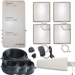 Stella Doradus Booster / répéteur / amplificateur Tri-Band GSM 900 / GSM 1800 / 3G 2100 / 4G 1800 + 4 antennes internes 4000m ² BRTUMTSGSM01-20