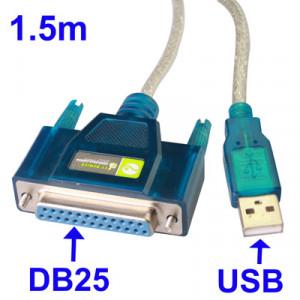 Câble USB 2.0 vers DB25 Pin Femelle (Port Parrallèle) 1.5m CUSBDB25P01-20