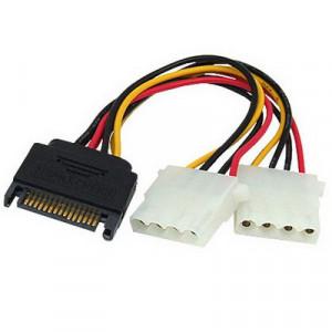 Câble d'alimentation 15 Pin vers 2 x 4 Pin SATA Y-Câble 15.2cm CA15P24P01-20