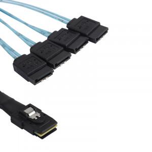 Câble Mini SAS vers 4 x SATA Female 7 Pin avec connecteur coudé 75cm CMSAS4SATA02-20