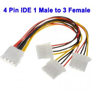 """Câble d'alimentation pour HDD 3,5"""" 1 Molex Mâle vers 3 Molex Femelle 20cm CAHDD35M01-20"""