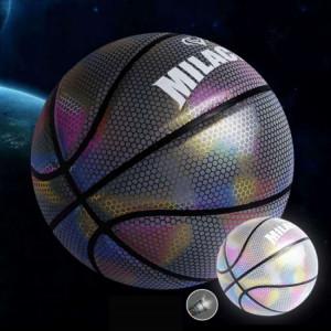 Ballon de basket-ball réfléchissant holographique numéro 7 MILACHIC visible la nuit Rainbow Star Basketball (Neon Square 6725) SH701E952-20