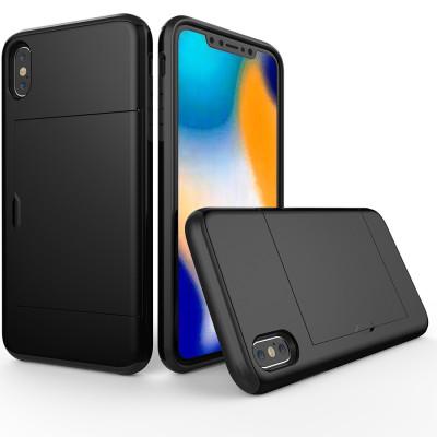 Étui de protection antichoc robuste avec armure pour iPhone XS Max, avec fente pour carte (noir) SH654B602-20