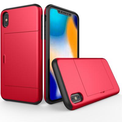 Étui de protection antichoc robuste avec armure pour iPhone XS Max, avec fente pour carte (rouge) SH654R1322-20
