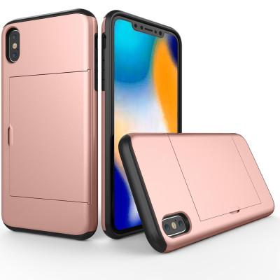 Étui de protection antichoc résistant à l'armure pour iPhone XS Max, avec fente pour carte (or rose) SH54RG361-20