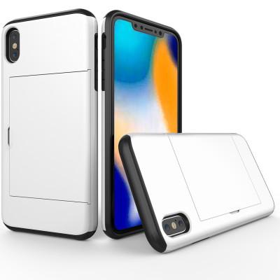 Étui de protection antichoc robuste pour iPhone XS Max, avec fente pour carte (blanche) SH654W318-20