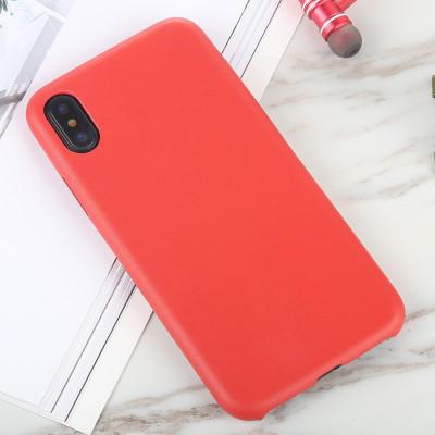 Pour iPhone X / XS Cuir Texture TPU Etui de protection arrière intégral (Rouge) SH464R212-20