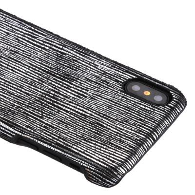 Pour iPhone X / XS PC Twinkle Stripes Motif Coque Coque Arrière (Noir) SH465B751-20
