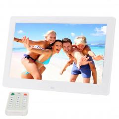 Cadre photo numérique grand écran 10,1 pouces HD avec support et télécommande, Allwinner E200, Réveil / MP3 / MP4 / Lecteur de film (blanc)