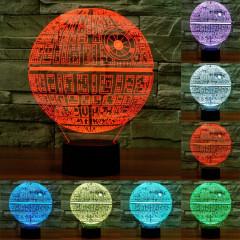 Death Star Style 7 Couleur Décoloration Creative Visual Stéréo Lampe 3D Tactile Commutateur LED Lumière Bureau Lampe de Nuit Lumière