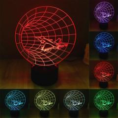 Time Machine Style 7 Couleur Décoloration Creative Visual Stéréo Lampe 3D Touch Switch Control LED Light Lampe de bureau Night Light