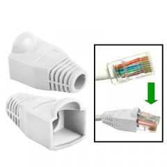 100 pcs câble réseau couvre-bouchon pour RJ45, blanc