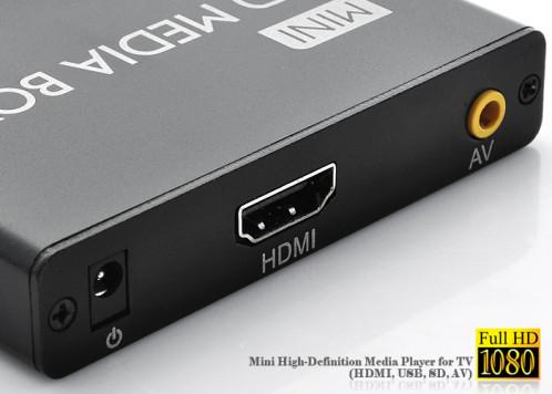 Mini lecteur multimédia HD (HDMI, USB, SD, AV) MLMHD02-02