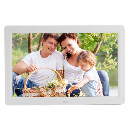 Écran LED de 12 pouces Cadre photo numérique multimédia avec support et lecteur de musique et de film, prise en charge USB / SD / Micro SD / MMC / MS / XD Card Input (blanc) SPF0203W-08