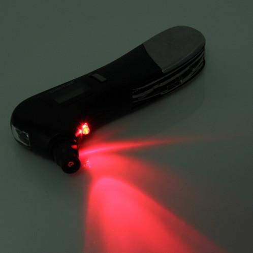 9 en 1 Jauge de pression de pneu numérique Marteau de sécurité multifonction avec couteau d'armée de style suisse, lampe de poche et lumière de sécurité rouge, trousse d'outils d'extérieur S96778-08