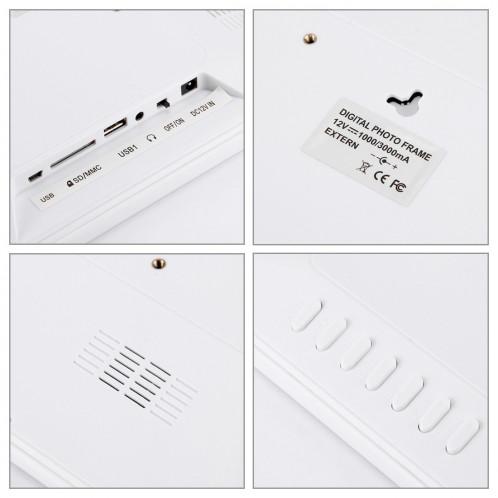 Cadre photo numérique 12.0 pouces avec support de télécommande Carte SD / MMC / MS et USB, blanc (1200) (blanc) SC126W6-08