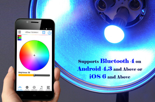 Ampoule LED 7W E27 RGBW Bluetooth 550 lumens / Application pour iOS + Android / LED Epistar / Angle 120 degres C79807-01