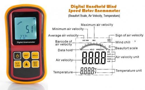 Anémomètre à main numérique mesurant la vitesse du vent, l'échelle de beaufort, la température AMNMVV01-010