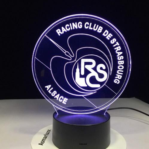 Creative Lampe LED 3D 2 modes d'éclairage, 7 couleurs, alimentation via USB ou piles AA Design RCS Racing Club de Strasbourg LEDASMARCS03-01