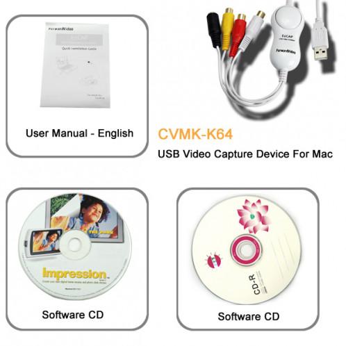 Clé USB de capture vidéo pour MAC (AV vers MAC) CUSBCVMAC01-04