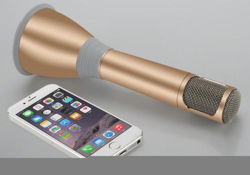 TUXUN K068 – Microphone Karaoké + Haut-parleur / Bluetooth 3.0 / Effets Karaoké KTV / Câble d'enregistrement / Batterie 1000mAh / Doré CT9865-01