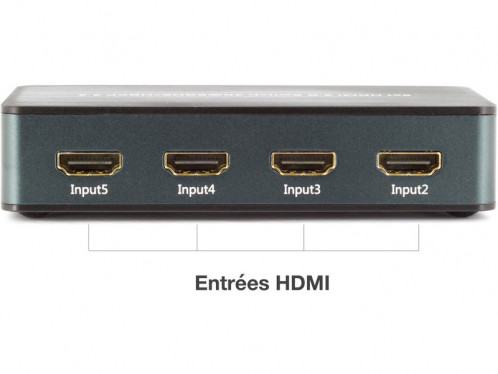 Switch HDMI 2.0 4K 5 entrées, 1 sortie + télécommande HDMMWY0080-04