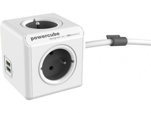 allocacoc PowerCube Extended USB 1,5m Bloc Multiprise Compact 4 Prises + 2 USB ALIACC0020-04
