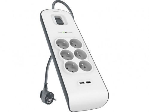BELKIN Multiprise parafoudre 6 prises + 2 x USB 2.0 2.4 A 2 m ACDBLK0013-01