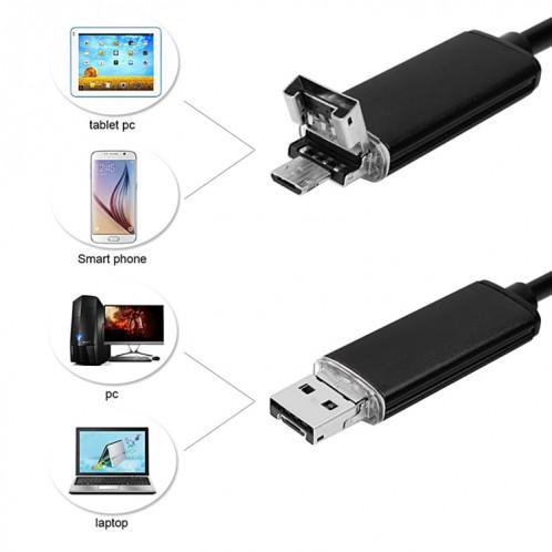 Caméra d'inspection de tube de serpent imperméable USB et endoscope USB 2 en 1 avec 6 DEL pour le plus récent téléphone OTG Android, longueur: 5 m, diamètre de la lentille: 5,5 mm SH05151816-012