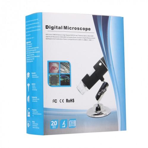 Microscope numérique USB à capteur d'image 1000MP avec loupe 1000X avec 8 DEL et support professionnel (Noir) SH555B312-011