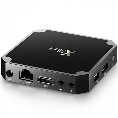 X96 mini 4K * 2K UHD sortie Smart TV BOX Player avec télécommande avec fixation murale, Android 7.1.2 Amlogic S905W Quad Core ARM Cortex A53 2GHz, RAM: 1 Go, ROM: 8 Go, Prise en charge WiFi, HDMI, TF (noir) SH973B1464-016