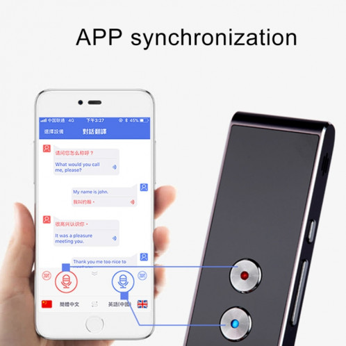 T8 poche Pocket Smart Traducteur de voix Traducteur de parole en temps réel avec Dual Mic, soutien 33 langues (Noir) SH087B720-011