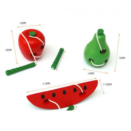 Les jouets en bois enfiler des chenilles pour manger des jouets en bois éducatifs drôles de pastèque SH582C402-04
