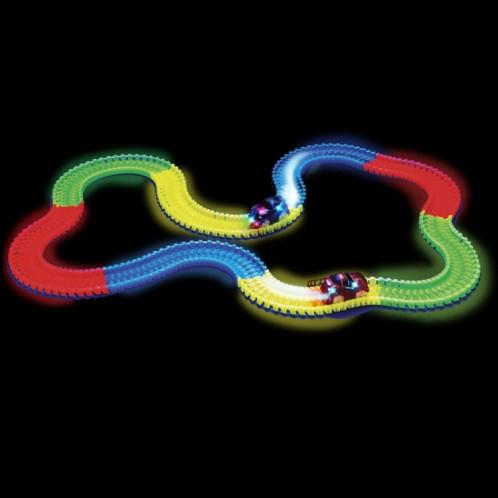 Nouvelles pistes magiques DIY Flex Glow Electric LED Light Up Racing Car Funny Briques Jouets éducatifs pour enfants avec 220 PCS Glow Tracks & 1 LED voiture allumée SH88001123-06
