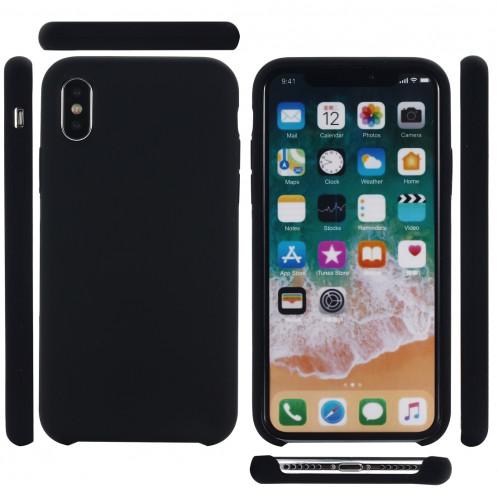 Housse de protection en silicone liquide à couverture intégrale à quatre coins pour iPhone XR 6,1 pouces (noir) SH098B136-07