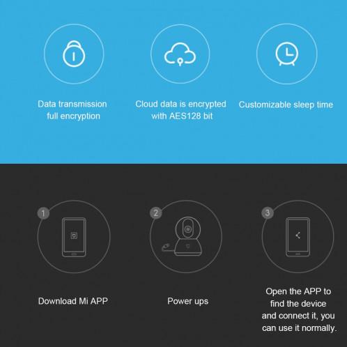 Caméra IP intelligente d'origine Xiaomi MIJIA Xiaobai Édition améliorée 1080P HD Angle de vue de 360 degrés, prise en charge de la détection de mouvement AI et de la vision infrarouge et d'une carte micro SD (64 SX121W577-012