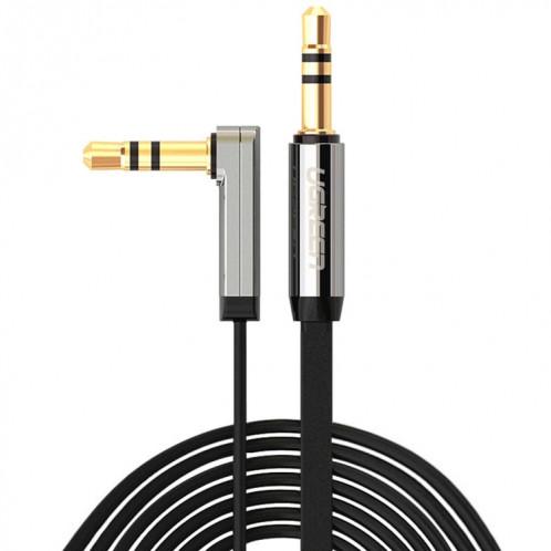 Ugreen 3.5mm Mâle à 3.5mm Mâle Elbow Connecteur Audio Câble d'Adaptateur Or-plaqué Port Voiture AUX Câble Audio, Longueur: 3m SU4813393-012